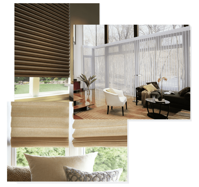 various photos of window treatments